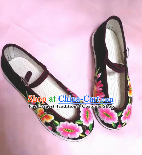 Chinese Traditional Hanfu Shoes Embroidered Peony Shoes Handmade Black Cloth Shoes for Women