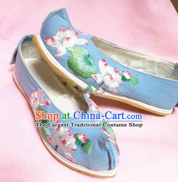 Chinese Traditional Hanfu Shoes Embroidered Lotus Shoes Handmade Blue Cloth Shoes for Women