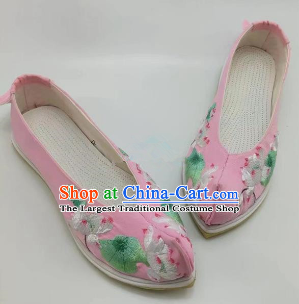 Chinese Traditional Hanfu Shoes Embroidered Lotus Shoes Handmade Pink Cloth Shoes for Women