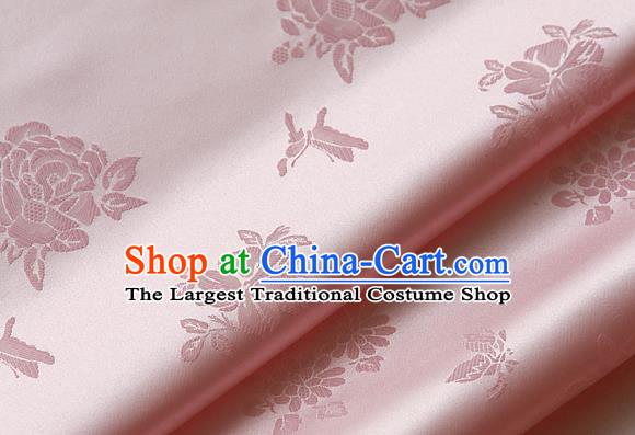 Traditional Asian Classical Cloth Drapery Pink Brocade Korean Hanbok Palace Satin Silk Fabric