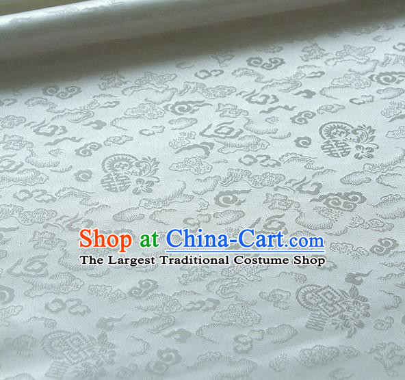 Traditional Asian Classical Cloth Drapery White Brocade Korean Hanbok Palace Satin Silk Fabric