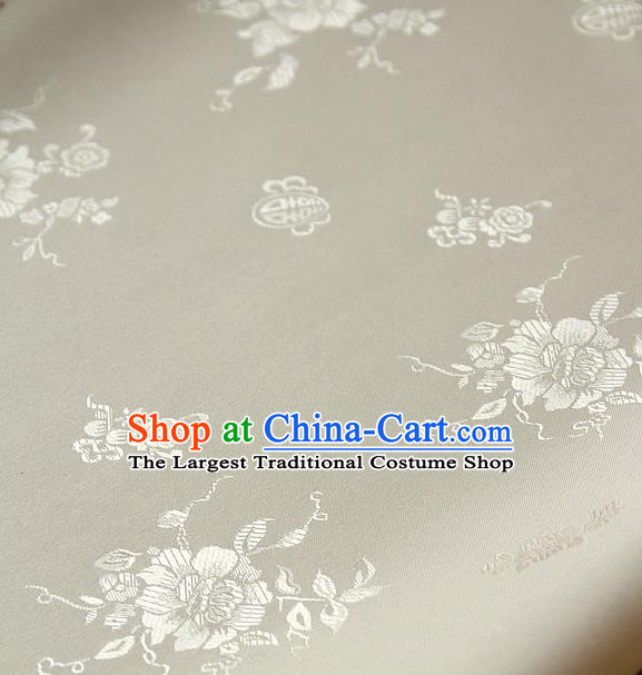Traditional Asian Classical Peony Pattern Cloth Drapery White Brocade Korean Hanbok Palace Satin Silk Fabric