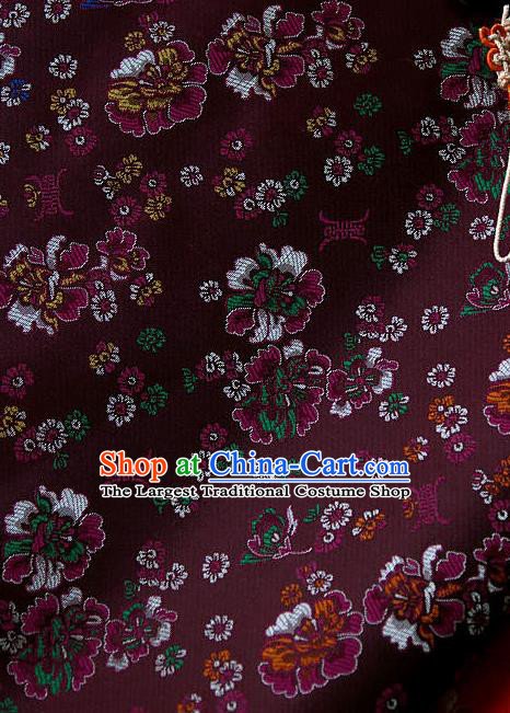 Traditional Asian Classical Pattern Cloth Drapery Amaranth Brocade Korean Hanbok Palace Satin Silk Fabric