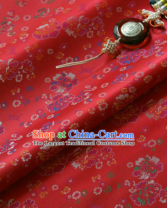 Traditional Asian Classical Pattern Cloth Drapery Red Brocade Korean Hanbok Palace Satin Silk Fabric