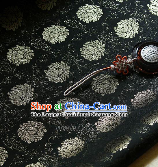 Traditional Asian Classical Lotus Pattern Cloth Drapery Black Brocade Korean Hanbok Palace Satin Silk Fabric