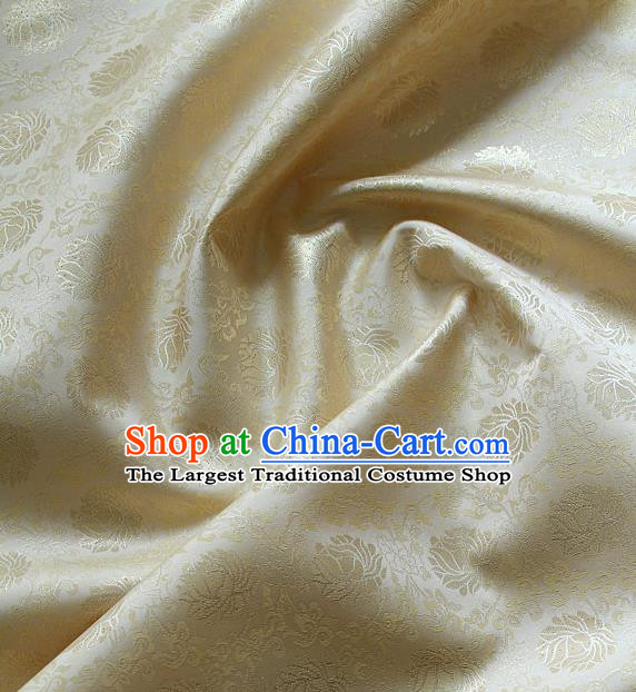 Traditional Asian Classical Lotus Pattern Cloth Drapery Golden Brocade Korean Hanbok Palace Satin Silk Fabric