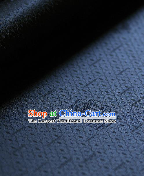 Traditional Asian Classical Pattern Cloth Drapery Navy Brocade Korean Hanbok Palace Satin Silk Fabric