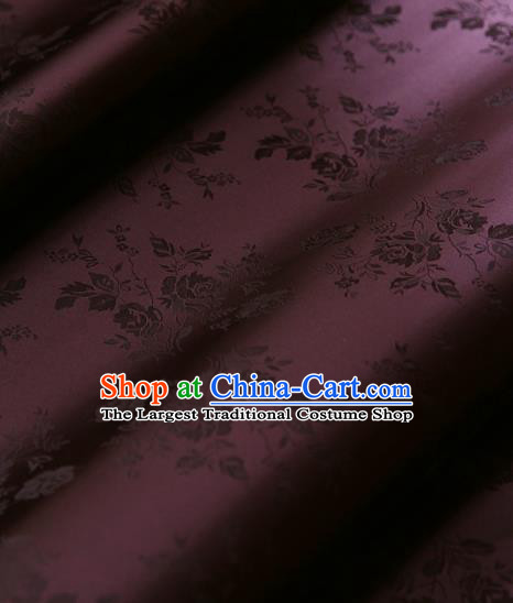 Traditional Asian Classical Pattern Cloth Drapery Wine Red Brocade Korean Hanbok Palace Satin Silk Fabric