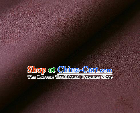 Traditional Asian Classical Pattern Cloth Drapery Purplish Red Brocade Korean Hanbok Palace Satin Silk Fabric