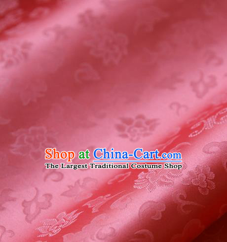 Traditional Asian Classical Pattern Rosy Brocade Cloth Drapery Korean Hanbok Palace Satin Silk Fabric