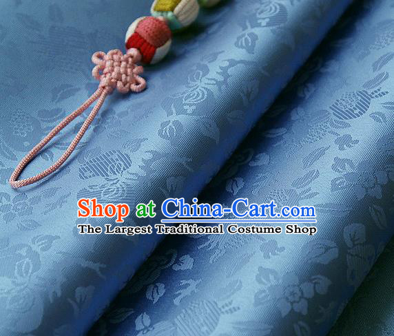 Traditional Asian Classical Pattern Blue Brocade Cloth Drapery Korean Hanbok Palace Satin Silk Fabric