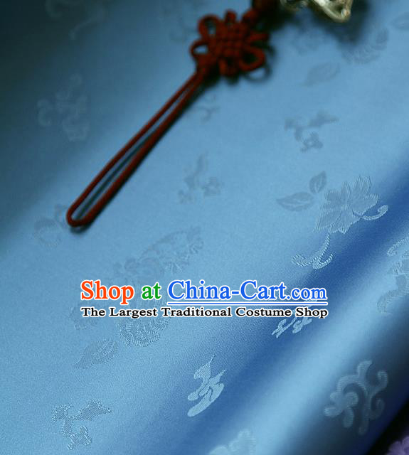 Traditional Asian Classical Chrysanthemum Pattern Blue Brocade Cloth Drapery Korean Hanbok Palace Satin Silk Fabric