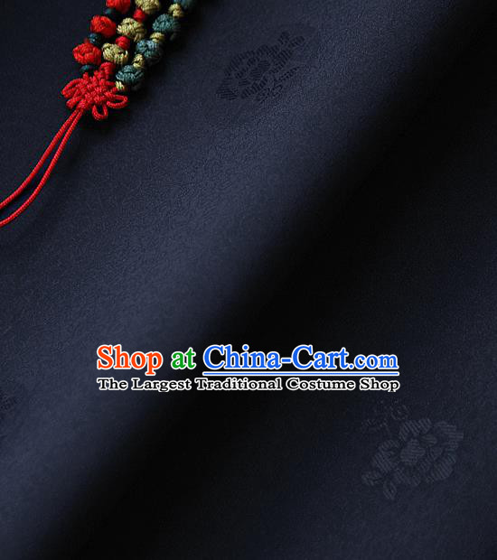 Traditional Asian Classical Pattern Navy Brocade Cloth Drapery Korean Hanbok Palace Satin Silk Fabric
