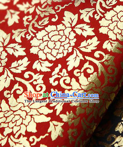 Traditional Asian Classical Gilding Pattern Red Brocade Cloth Drapery Korean Hanbok Palace Satin Silk Fabric