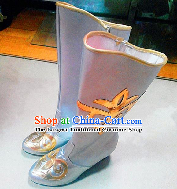 Chinese Ethnic Folk Dance Shoes Traditional National Uyghur Nationality Boots for Women