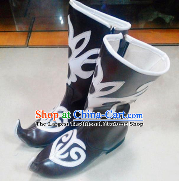 Chinese Ethnic Folk Dance Shoes Traditional National Uyghur Nationality Black Boots for Women