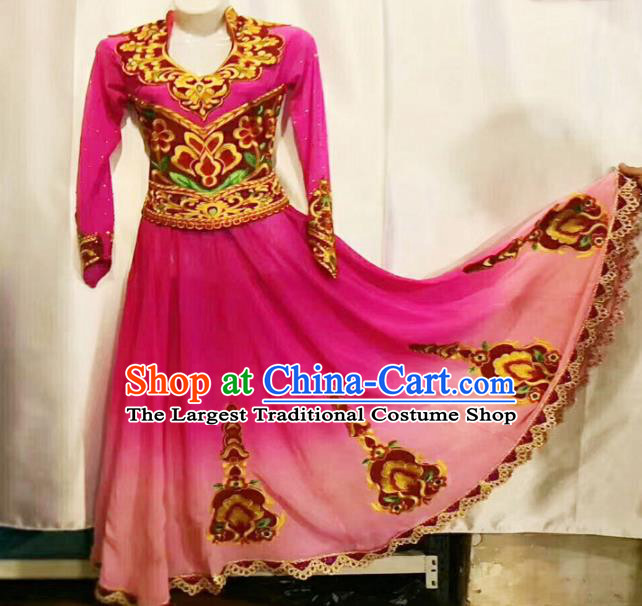 Chinese Ethnic Folk Dance Pink Dress Traditional National Uyghur Nationality Costumes for Women