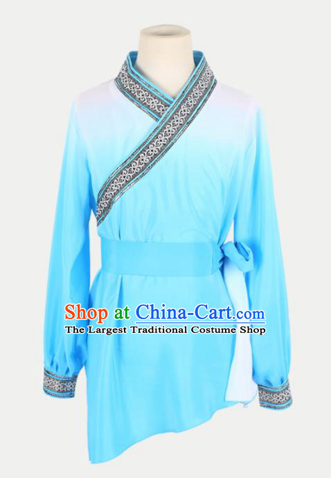 Chinese Traditional Folk Dance Clothing Classical Dance Blue Costume for Men