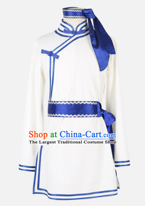 Chinese Traditional Folk Dance Clothing Classical Dance White Costume for Men