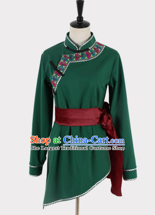 Chinese Ethnic Minority Embroidered Green Blouse Traditional Mongols Nationality Folk Dance Costume for Women