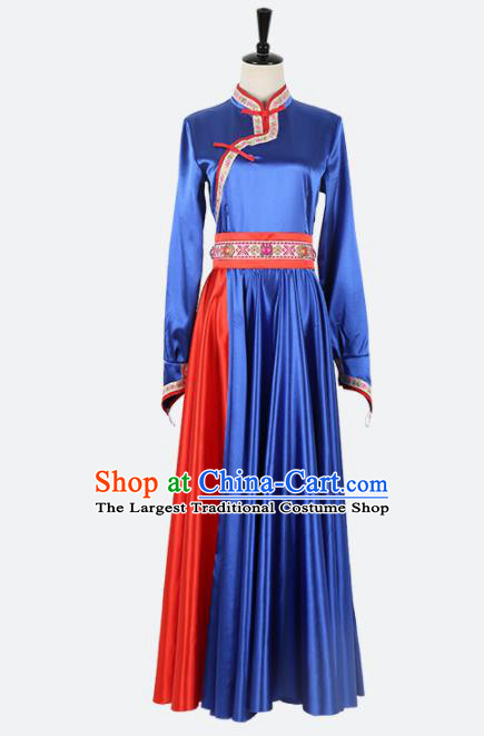 Chinese Ethnic Minority Royalblue Dress Traditional Mongols Nationality Folk Dance Costume for Women
