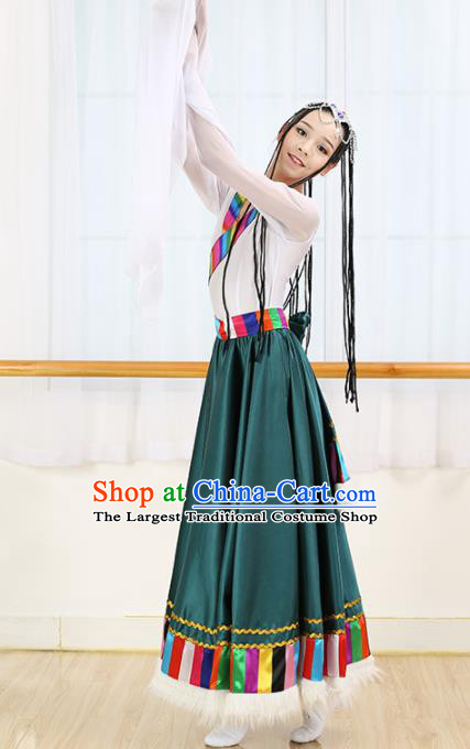 Chinese Tibetan Ethnic Minority Dress Traditional Zang Nationality Folk Dance Costume for Women