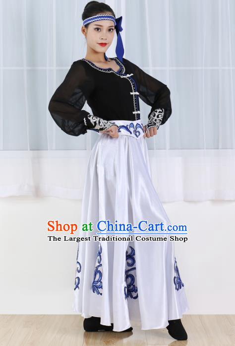 Chinese Mongolian Ethnic Minority White Dress Traditional Mongol Nationality Folk Dance Costume for Women