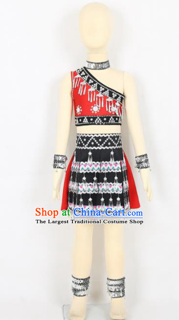 Chinese Yi Ethnic Minority Dress Traditional Yao Nationality Folk Dance Costume for Kids
