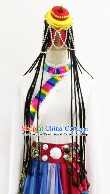 Chinese Traditional Zang Nationality Dance Hat Tibetan Minority Headwear for Women