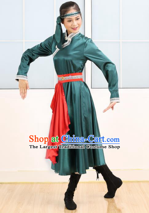 Chinese Mongolian Ethnic Minority Green Dress Traditional Nationality Folk Dance Costume for Women