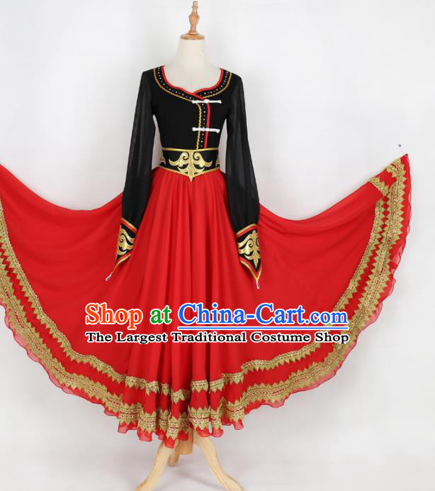 Chinese Mongolian Ethnic Minority Red Dress Traditional Nationality Folk Dance Costume for Women