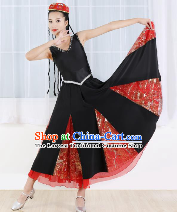 Chinese Ethnic Minority Black Dress Traditional Uyghur Nationality Folk Dance Costume for Women