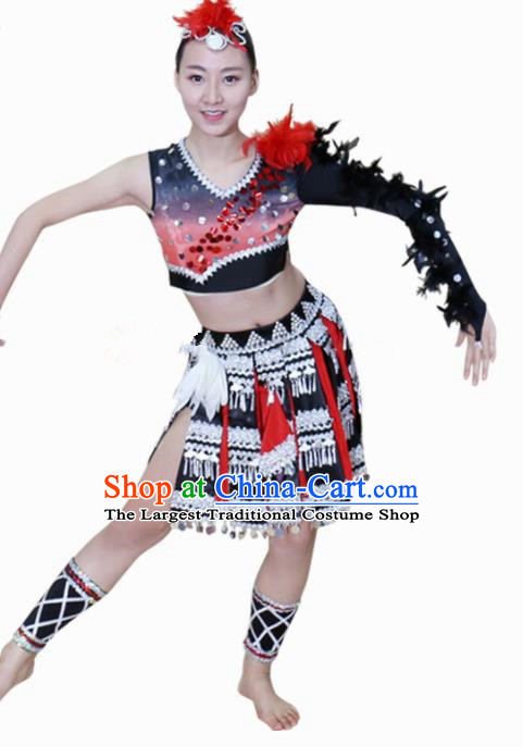 Chinese Ethnic Minority Dress Traditional Wa Nationality Folk Dance Costume for Women