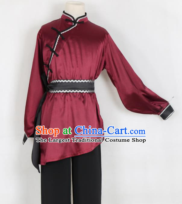 Chinese Traditional Mongolian Folk Dance Clothing Classical Dance Wine Red Costume for Men
