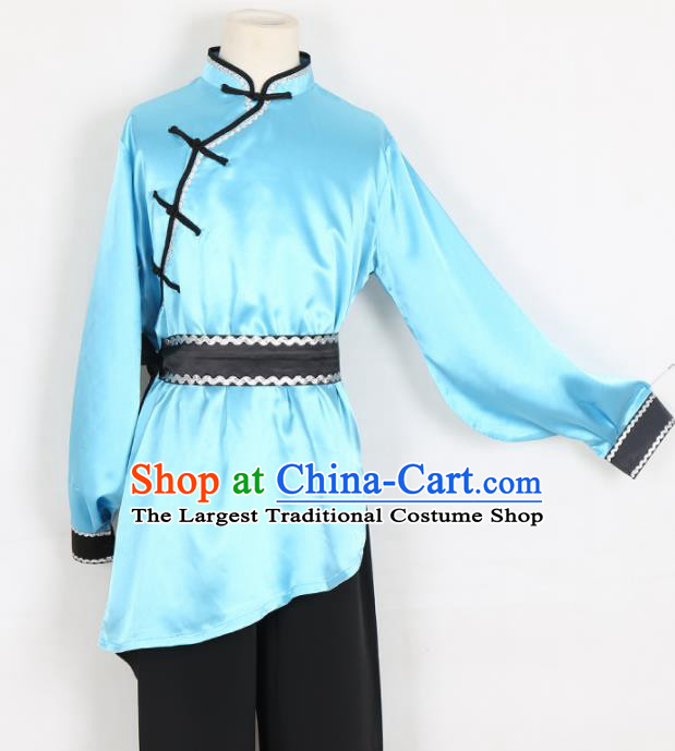 Chinese Traditional Mongolian Folk Dance Clothing Classical Dance Blue Costume for Men