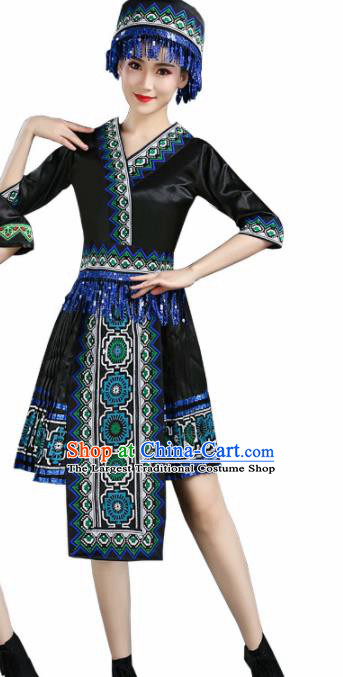 Chinese Hmong Ethnic Minority Black Dress Traditional Li Nationality Folk Dance Costumes for Women