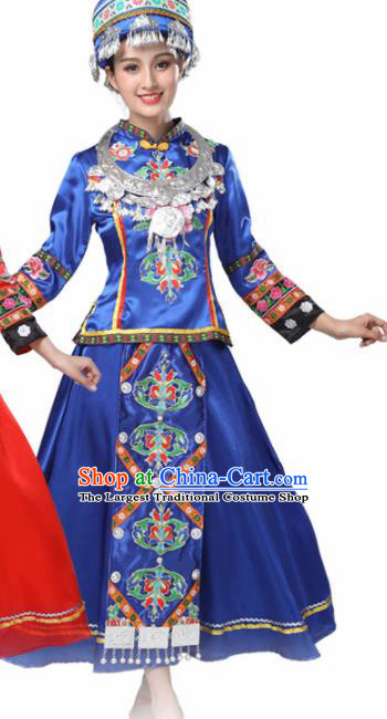 Chinese Hmong Ethnic Minority Royalblue Dress Traditional Dong Nationality Folk Dance Costumes for Women