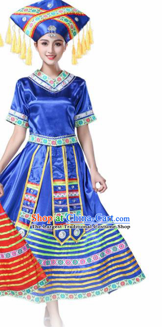 Chinese Ethnic Minority Blue Dress Traditional Zhuang Nationality Folk Dance Costumes for Women