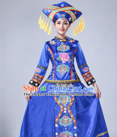 Chinese Ethnic Minority Blue Embroidered Dress Traditional Zhuang Nationality Folk Dance Costumes for Women