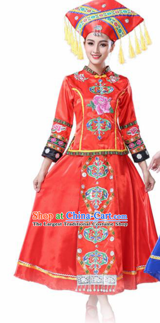Chinese Ethnic Minority Red Embroidered Dress Traditional Zhuang Nationality Folk Dance Costumes for Women