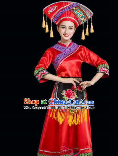 Chinese Yi Ethnic Minority Red Embroidered Dress Traditional Zhuang Nationality Folk Dance Costumes for Women