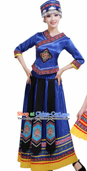 Chinese Yi Ethnic Minority Royalblue Embroidered Dress Traditional Zhuang Nationality Folk Dance Costumes for Women