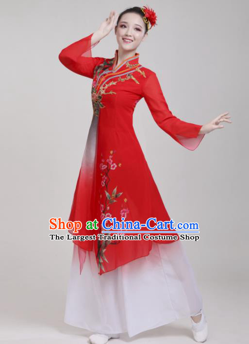 Chinese Traditional Folk Dance Red Costumes Classical Dance Lotus Dance Clothing for Women