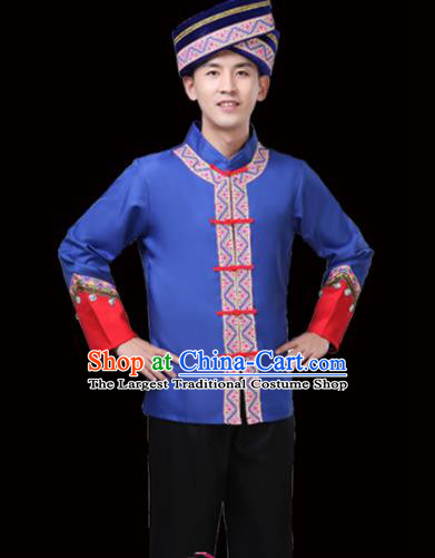 Chinese Traditional Miao Nationality Folk Dance Clothing Ethnic Dance Embroidered Blue Costumes for Men