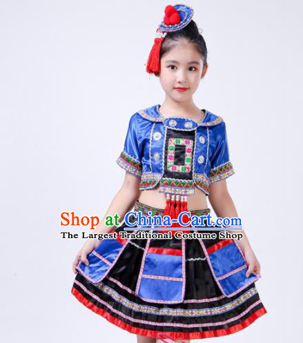 Chinese Traditional Yao Nationality Folk Dance Blue Dress Ethnic Dance Costumes for Kids