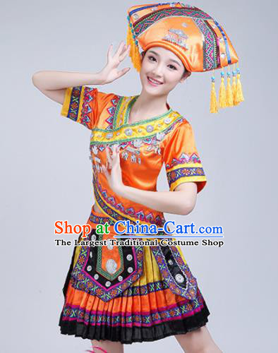 Chinese Zhuang Ethnic Minority Orange Embroidered Dress Traditional Nationality Folk Dance Costumes for Women