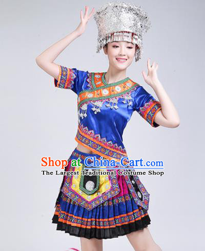 Chinese Zhuang Ethnic Minority Blue Embroidered Dress Traditional Nationality Folk Dance Costumes for Women