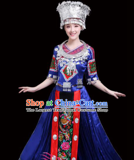 Chinese Miao Ethnic Minority Royalblue Embroidered Dress Traditional Nationality Folk Dance Costumes for Women