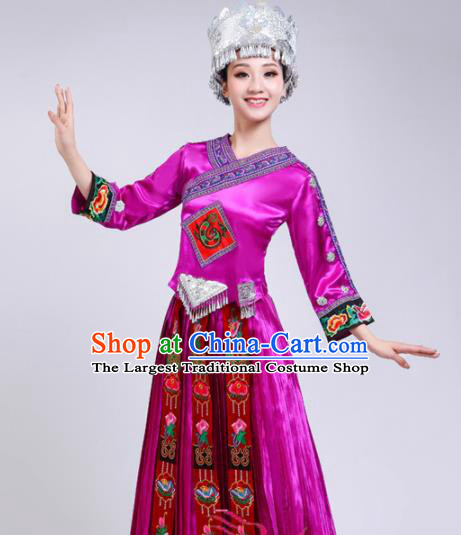 Chinese Hmong Ethnic Minority Rosy Dress Traditional Miao Nationality Folk Dance Costumes for Women