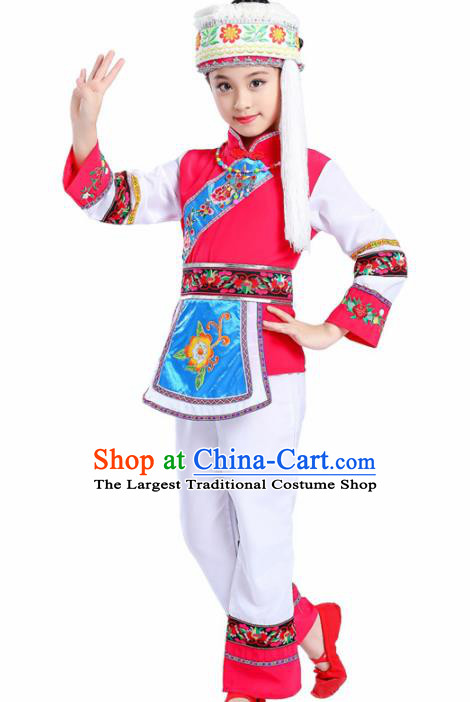 Chinese Traditional Bai Minority Folk Dance Clothing Ethnic Dance Costumes for Kids